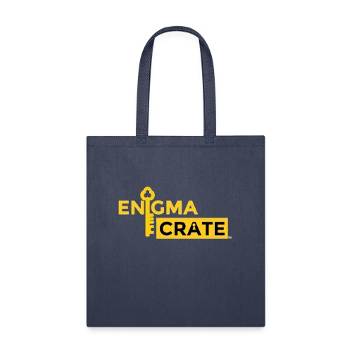 gold on black enigma crate logo - Tote Bag