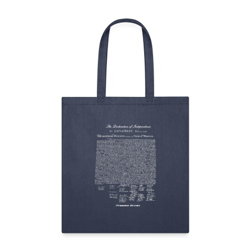 Declaration of Independence White Lettering - Tote Bag