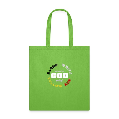 Power by GOD (Black, White, Yellow, Red) - Tote Bag