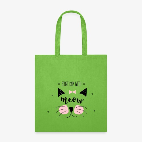 Start Day With Meow - Tote Bag