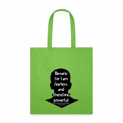 Frankenstein quote white text on black outline - Tote Bag