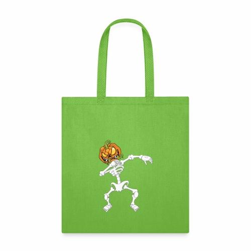 Funny Dabbing Skeleton Pumpkin Halloween T-Shirt - Tote Bag