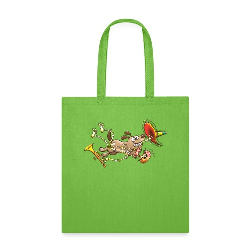 Mischievous Dog Stealing Mexican Skeleton - Tote Bag