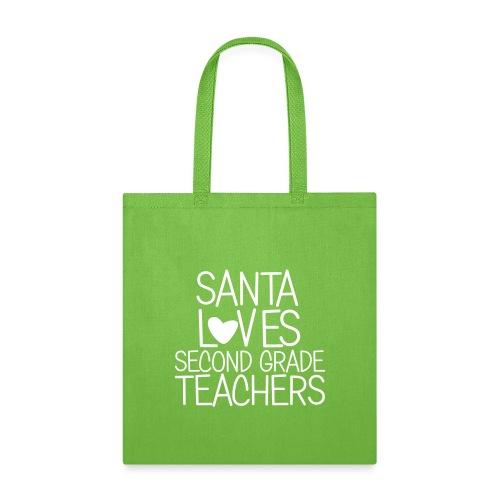 Santa Loves Second Grade Teachers Christmas Tee - Tote Bag