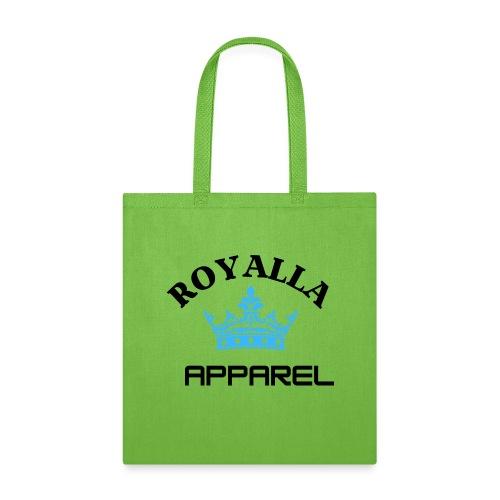 Royalla Apparel LogoBlack with Blue Words - Tote Bag