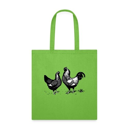 Vintage Rooster and Hen - farm style - Tote Bag