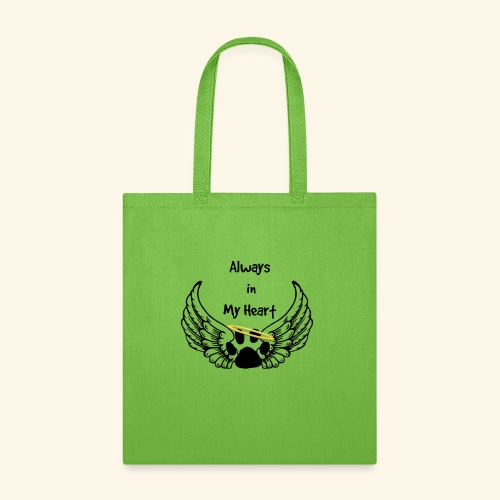 Always In my Heart Angle wings And paw Design - Tote Bag