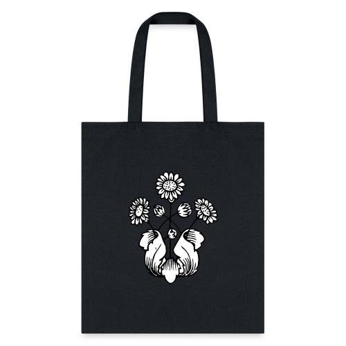 Vintage Sunflower Motif - Black Ink, White Fill - Tote Bag