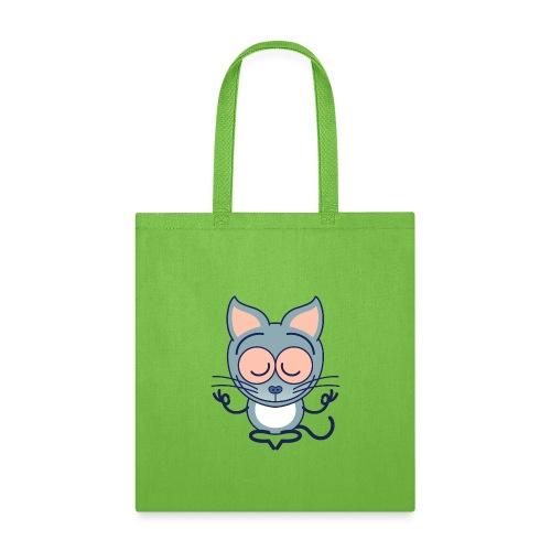 Gray cat meditating in joyful mood - Tote Bag