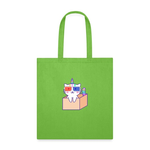 Unicorn cat with 3D glasses doing Vision Therapy! - Tote Bag