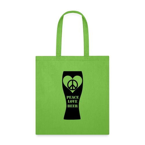 Peace Love Beer (Black) (Vector) - Tote Bag