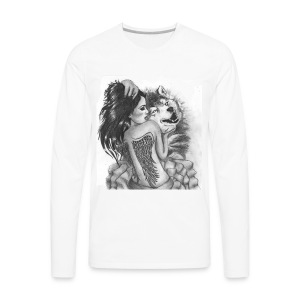 Wolf with woman - Men's Premium Long Sleeve T-Shirt