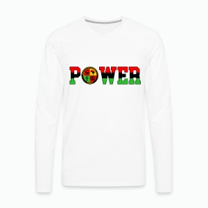 Afrikan Power with Logo and Black trim - Men's Premium Long Sleeve T-Shirt