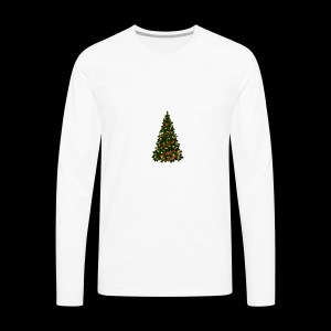 Large Christmas Tree with Red Ribbon - Men's Premium Long Sleeve T-Shirt