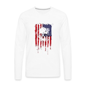 American Flag Skull 4th of July graphic Collection - Men's Premium Long Sleeve T-Shirt