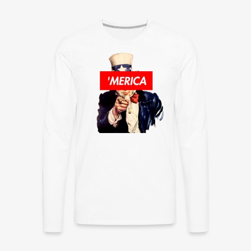 Uncle Sam Box Logo - Men's Premium Long Sleeve T-Shirt