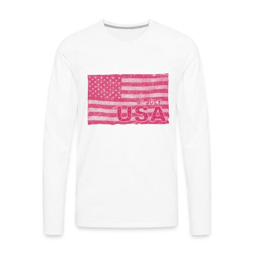 4th July American Flag Independence Day vintage - Men's Premium Long Sleeve T-Shirt