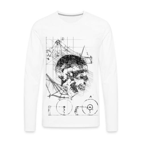 Skull Da Vinci Sketch Style - Men's Premium Long Sleeve T-Shirt