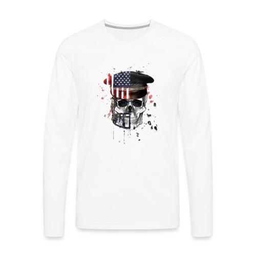 American Flag Military Cap Skull collection - Men's Premium Long Sleeve T-Shirt