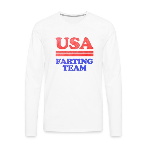 Funny 4th of July USA Farting Independence Day - Men's Premium Long Sleeve T-Shirt