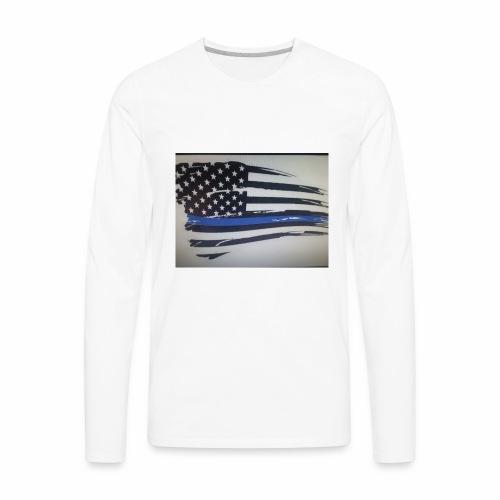 Back the Blue Flag Design - Men's Premium Long Sleeve T-Shirt