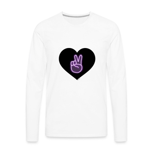 Peace victory Dolan twins sign in a love heart - Men's Premium Long Sleeve T-Shirt