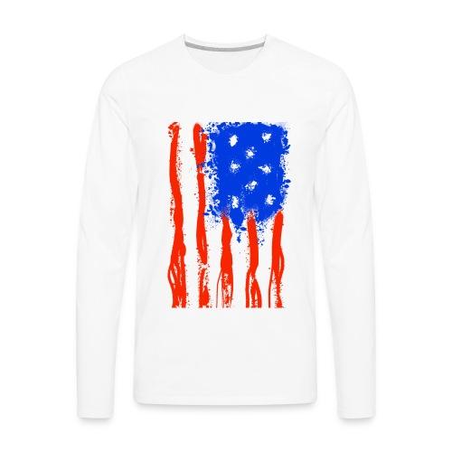 US Flag Flowing Stripes - Men's Premium Long Sleeve T-Shirt