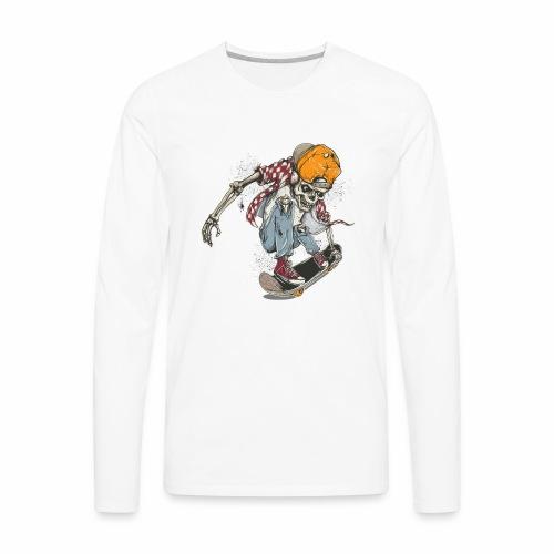 Skeleton Skateboard T-shirt Graphic - Men's Premium Long Sleeve T-Shirt