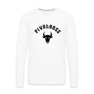 PivotBoss Curved Logo - Black - Men's Premium Long Sleeve T-Shirt