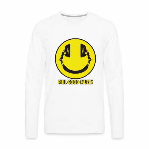 PHIL GOOD MUZIK HAPPY HEADPHONES - Men's Premium Long Sleeve T-Shirt