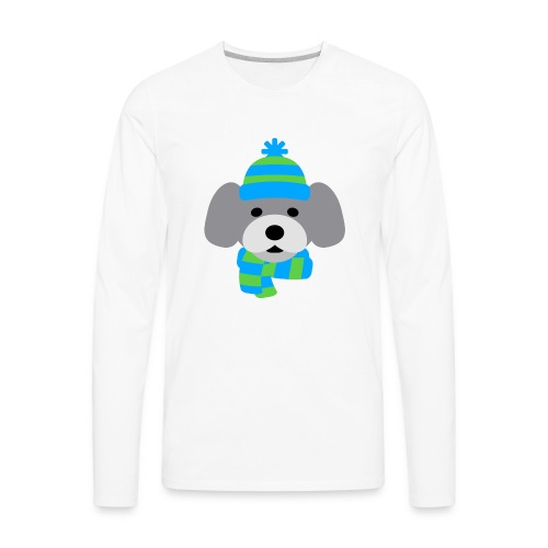 Cute Dog in Winter hat blue and green strips - Men's Premium Long Sleeve T-Shirt
