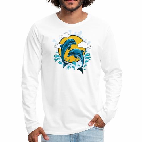 Dolphins jumping with sun - Men's Premium Long Sleeve T-Shirt
