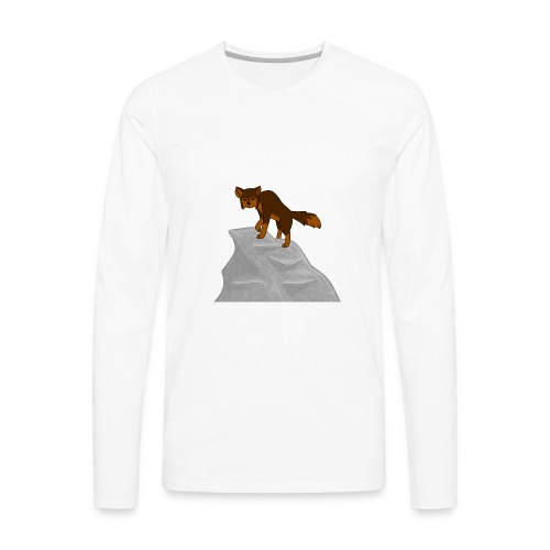 Wolf looking down on Boulder - Men's Premium Long Sleeve T-Shirt