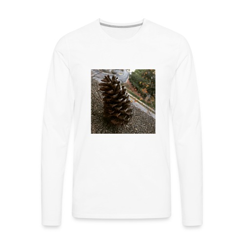 Pine Cone on Ledge - Men's Premium Long Sleeve T-Shirt