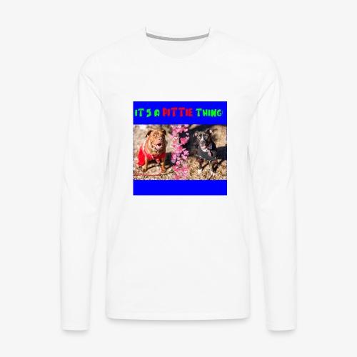 pittie thing flat blue - Men's Premium Long Sleeve T-Shirt