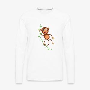 Funny Monkey Swinging On A Vine Merchandise - Men's Premium Long Sleeve T-Shirt