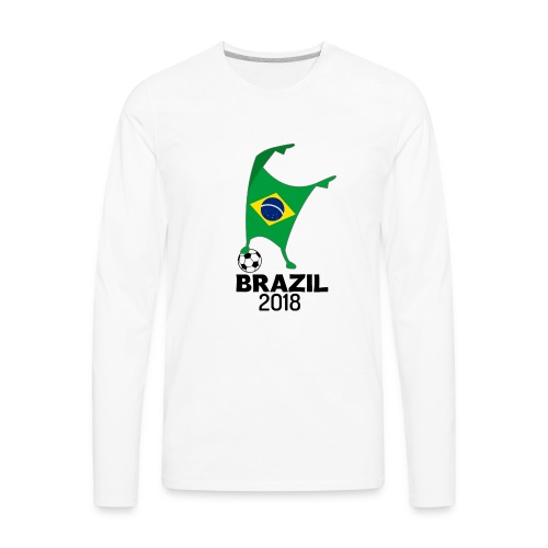 Brazil Flag 2018 Football Cup Soccer Dabbing World Jersey - Men's Premium Long Sleeve T-Shirt