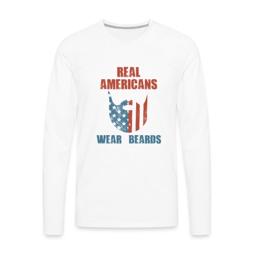 Real Americans Wear Beards Patriotic Flag Graphic - Men's Premium Long Sleeve T-Shirt