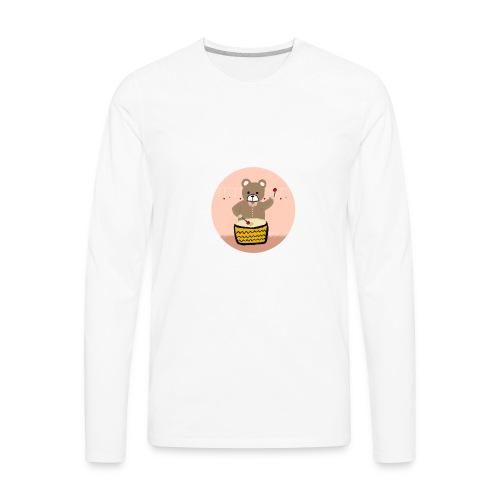 Bear playing drum - Men's Premium Long Sleeve T-Shirt
