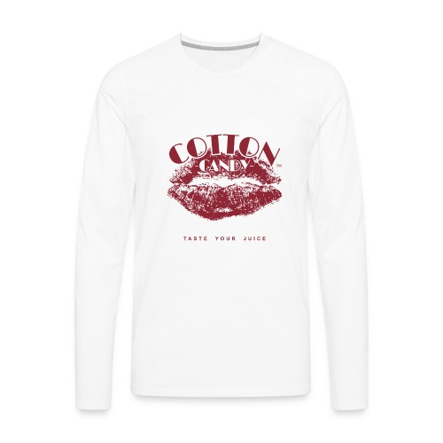 CottonCandyLogo-MONOChrome-NOVAPE-TM-slogan-MAROON - Men's Premium Long Sleeve T-Shirt