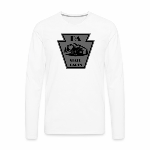 Keystone with Cabin Black and Grey - Men's Premium Long Sleeve T-Shirt