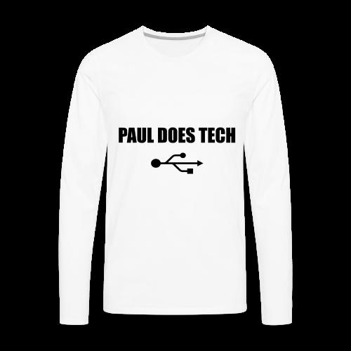 Paul Does Tech Logo Black with USB - Men's Premium Long Sleeve T-Shirt