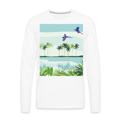 Natural Summer Urban Exotic Parrot Jungle - Men's Premium Long Sleeve T-Shirt