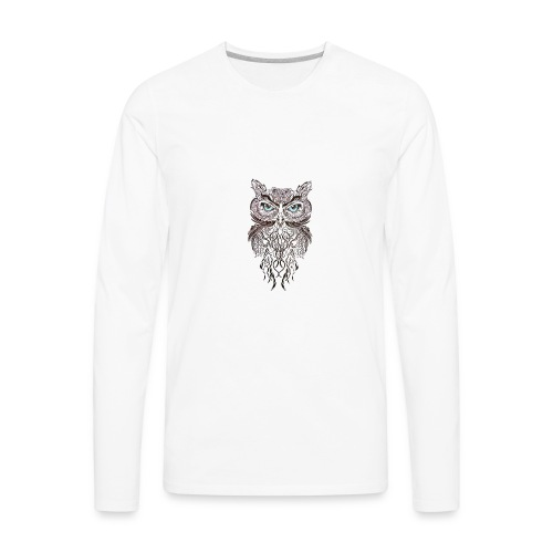 tatouage ephemere hibou tribal - Men's Premium Long Sleeve T-Shirt