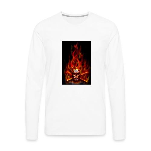 red fire skull - Men's Premium Long Sleeve T-Shirt