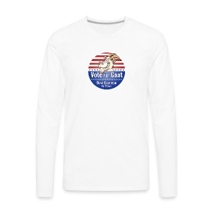 Vote for Goat Button Design - Men's Premium Long Sleeve T-Shirt