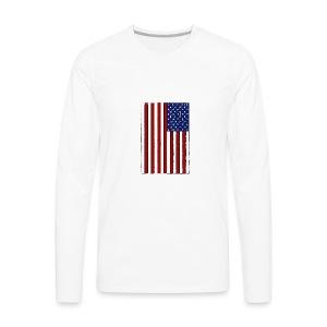 USA Flag (Distressed) - Men's Premium Long Sleeve T-Shirt