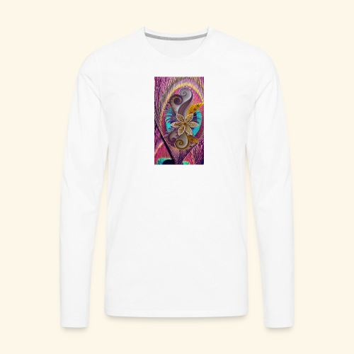 peacock feather and flower - Men's Premium Long Sleeve T-Shirt