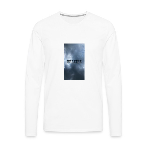 Clouds with Breathe text - Men's Premium Long Sleeve T-Shirt