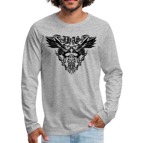 Vintage JHAS Tribal Skull Wings Illustration - Men's Premium Long Sleeve T-Shirt